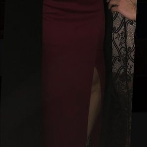 JS Collections Dresses - Wine red evening gown
